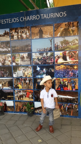 Young boy in front of the festival poster.
