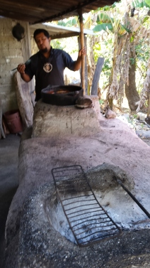 The pan in which Jose Ramon roasts his tons of beans. He is standing there, so you have some perspective of how small the pan is compared to the amount of work it has to do.