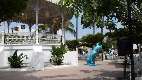 Colima dog by the gazebo