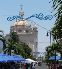 Colima Cathedral with decoration representing the Colima Volcano of Fire