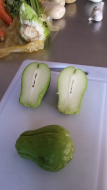 The chayote - inside and out.