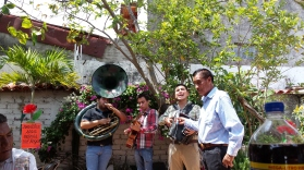 The band, with Doña Meche's husband Lorenzo holding the microphone.