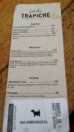 Menu for the Cervecería, along with the ticket to the fundraiser