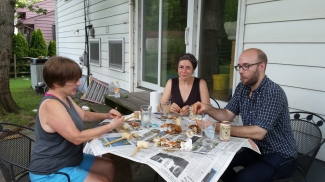Eating the famous Maryland crabs with Mary, Nathalie and Andy