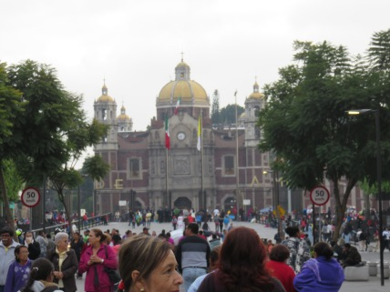 Approaching the plaza of the Basilica of the Virgin of Guadalupe